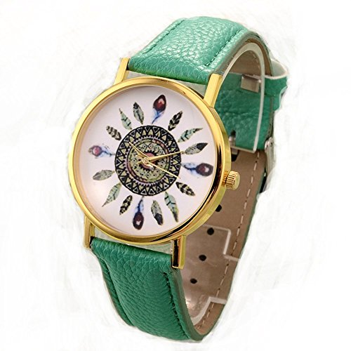 YELLOW CHIEMES Vintage Retro Green Leather Strap Printed Dial Analog Watch for Girls and Women
