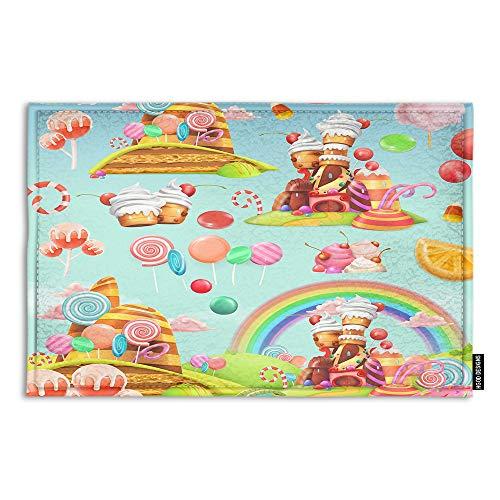 HGOD DESIGNS Candy Doormat,Cartoon Game Sweet Candy Land Design Indoor/Outdoor Doormat Door Mat Decor Rug Non Slip Mats 23.6