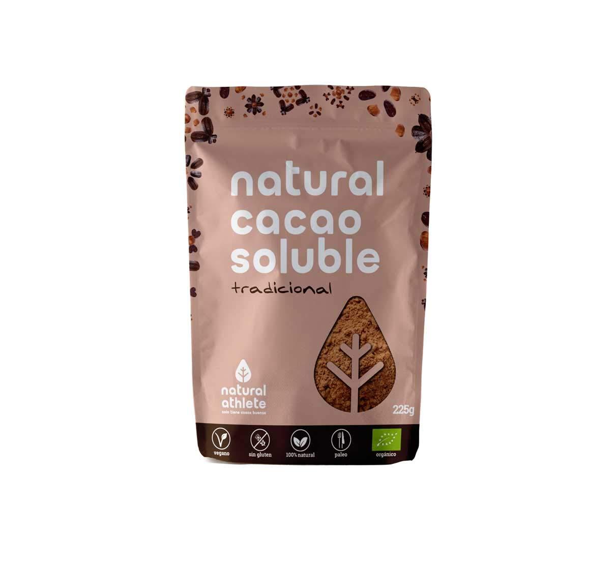 Cacao Soluble - Natural Athlete - 75% menos de azúcar - 100% natural y orgánico, azúcar de coco y sin azúcar refinado añadido.
