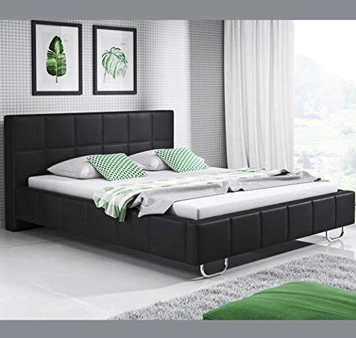 muebles bonitos Cama de Matrimonio Moderna Sofia con somier de láminas para colchón de 150x190cm Negro diseño Italiano Elegante: Amazon.es: Hogar