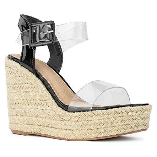 RF ROOM OF FASHION Open Toe Clear PVC Espadrille Platform Wedge Sandals Black Patent Size.5.5