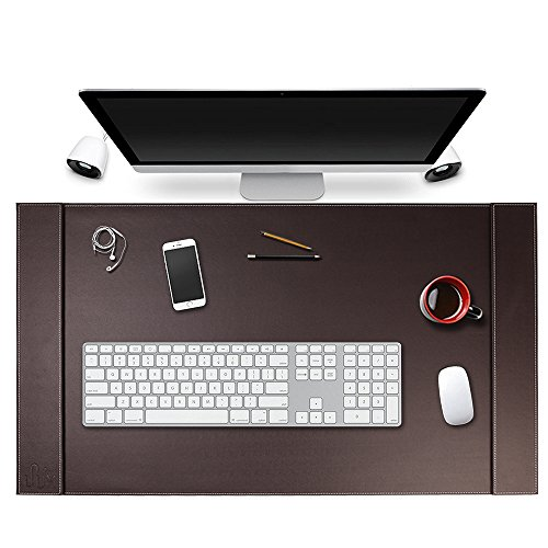 SumacLife Executive Modern Large Matte Coffee Brown PU Leather Laptop Mat/Desk Pad 34
