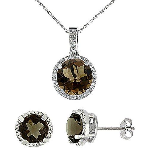 Boucles d'oreilles rondes Topaze Fumé Naturel et pendentif or blanc 9carats de diamants Accents