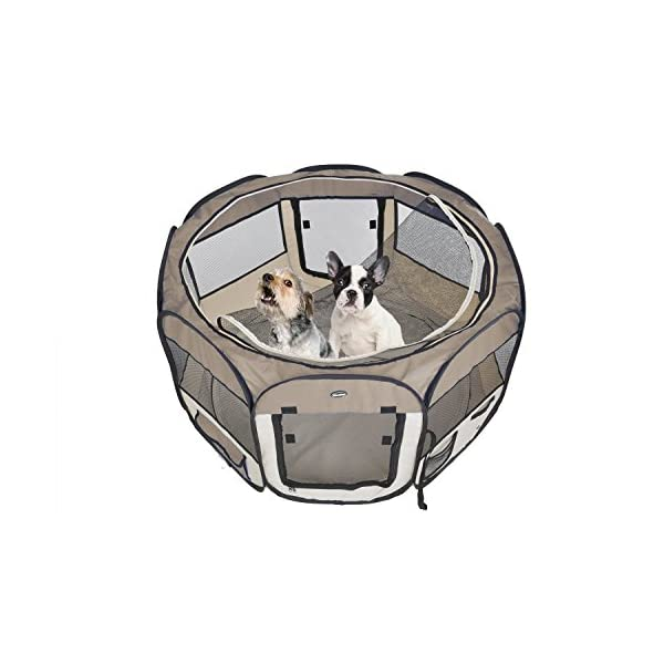 EXPAWLORER 45″ Dog Playpen Puppy Exercise Kennel Cats Pet Portable Foldable Pen Brown Click on image for further info. 3