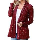 2018 New!!Ladies Smock Patchwork Coat,Women Fashion Plus Size Print Dot Long Sleeve Cumtome (XL, Wine)