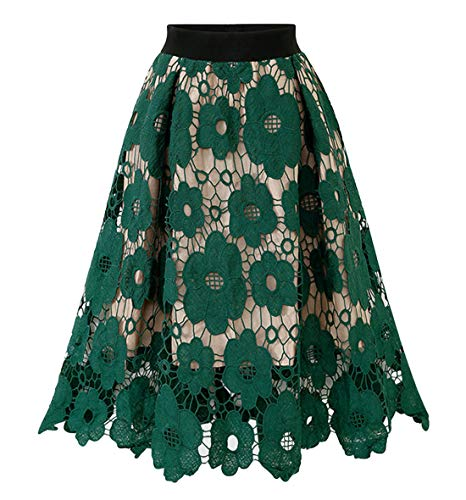Chartou Womans Vintage Floral Lace Elastic Waist Scalloped A-Line Swing Midi Skirts (Free Size, Green)