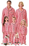 PajamaGram Matching Family Christmas Pajamas - Candy Cane Fleece, Red, Kids, 8