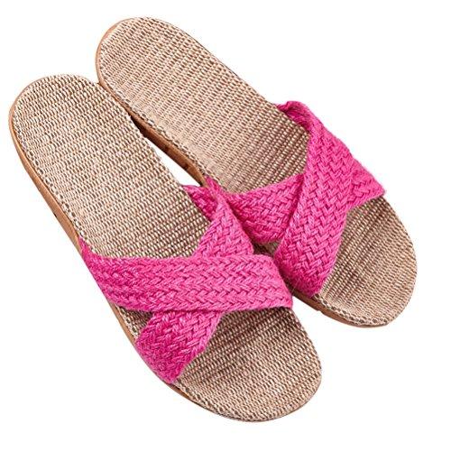 Skidproof 05 ENCOCO House Slippers Linen Unisex Striped Sandals Summer Indoor rXYzXTqw