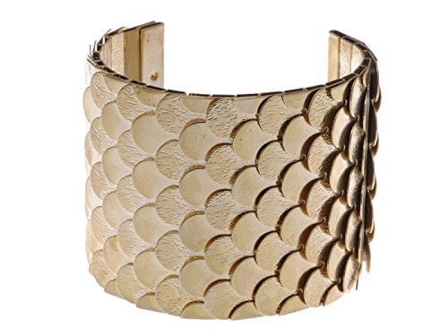 Alilang Golden Tone Egyptian Etched Textured Scales Scalloped Wrap Arm Cuff Bracelet