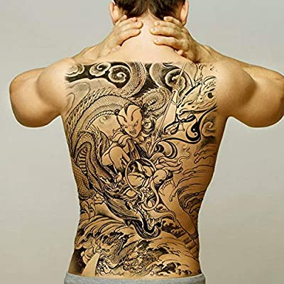 Handaxian 2pcs Tatuaje Hombre Impermeable Grande Espalda Tatuaje ...