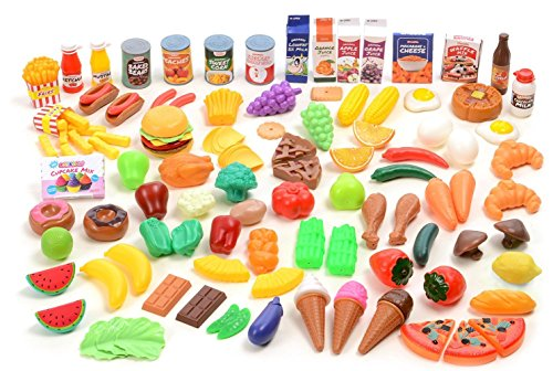 Plastic Fake Food (Kangaroo Deluxe Pretend Food, 120 Piece Set)