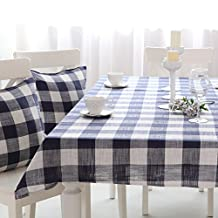 Zhiyuan Chessboard Plaid Linen Kitchen Dining Tablecloth Cabinet Top Cover 130x130cm Navy