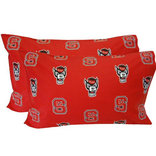 NC State Printed Pillow Case -  - Solid by College Covers