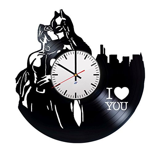Batman Arkham Origins New 52 Costume (Modern Vinyl Record Wall Clock With DC Comics Couple Design - Unique Living Room or Play Room Wall Decor - Original Gift Idea For Adults and Youth - Exclusive Comics Fan Art)