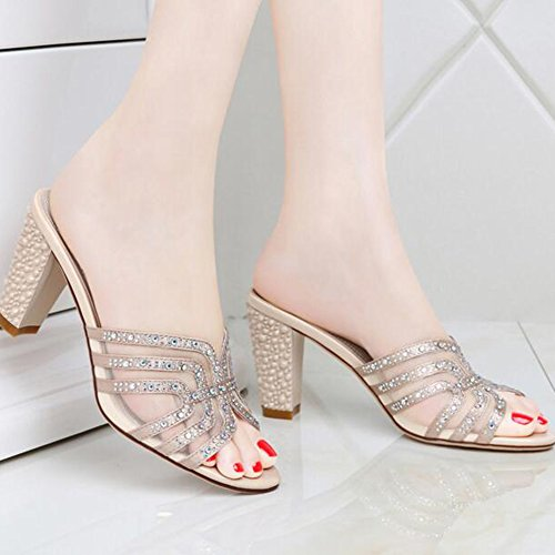 Sandals Flip-Flops Women's Shoes Customized Materials Summer Comfort Slippers Walking Shoes Chunky Heel Open Toe Rhinestone For Casual Party Stylish/comfortable Gold QXLDO