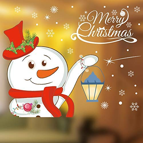 Selling Christmas Snowman Removable Furniture Stickers In Windows House Bedroom Decor Wall - Wall Sticker ()