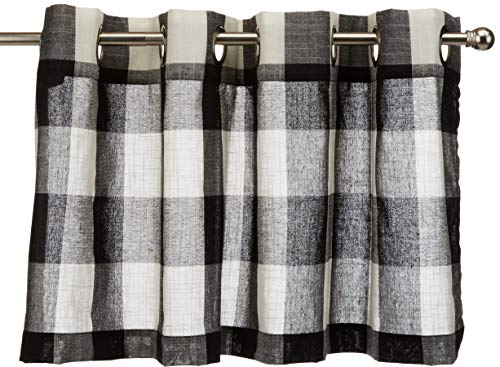 Lorraine Home Fashions 09570-V-00146 BLACK Courtyard Grommet Window Curtain Valance, Black, 53
