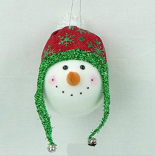 Happy Snowman with Carrot Nose and Red & Green Glittered Beanie Cap with Ear Flaps ()
