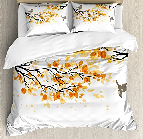 Cover Set King Size, Branch with Pale Fall Leaves and Birds Natural Change in Season Summertime Print, Decorative 3 Piece Bedding Set with 2 Pillow Shams, Yellow Cream (Branch Comforter Set)