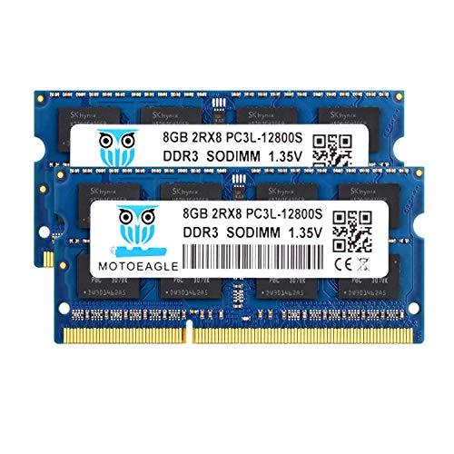 Motoeagle 16GB Kit (2x8GB) DDR3/DDR3L 1600MHz SODIMM PC3L-12800S Unbuffered 204-Pin Laptop Memory