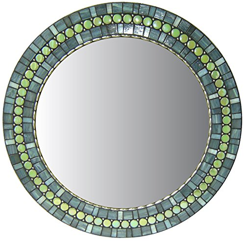Round Mosaic Accent Mirror | Gray & Green - Mosaic wall mirror