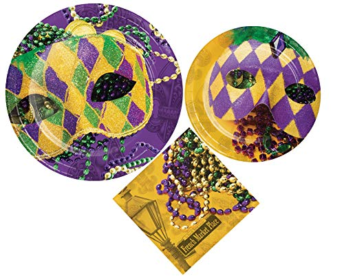 Mardi Gras Party Supply Pack for 8 Guests! Bundle Includes Disposable Paper Plates & Napkins in Masks of Mardi Gras Design ()