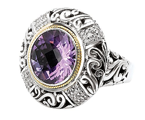 Element Amethyst Ring - Element Jewelry 925 Silver, Amethyst & Diamond Ring with 18k Gold Accents (0.27ctw)- Size 7