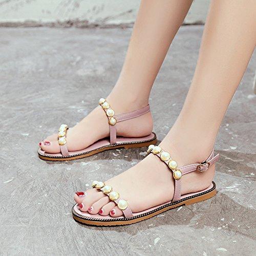 fondo YMFIE perla Estate confortevoli della piatto da moda antiskid Pink scarpe semplice dal sandali spiaggia signora dita xrqr1wYB