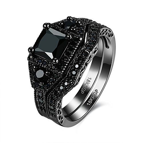 Eternity Love Wedding Bands Women's 18K Black Gold Plated Rings Princess Cut Blue/Black/Purple CZ Crystal Engagement Rings Best Promise Rings Anniversary Wedding Rings for Lady Girl, (Halo Reach Costumes)