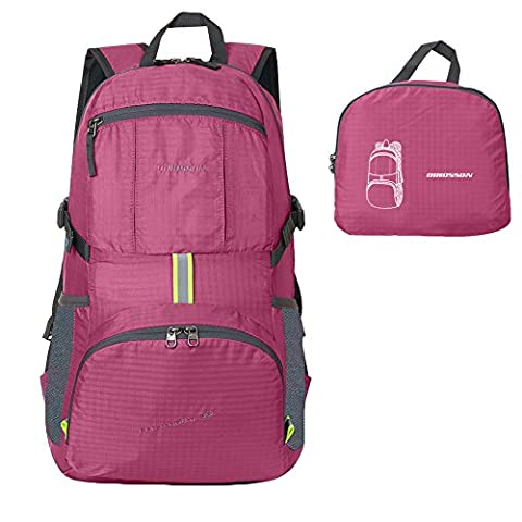 ORICSSON Unisex Rated 35L Durable Lightweight Foldable Backpack Waterproof Handy Daypack (Rose Red-II, - Everest Rose