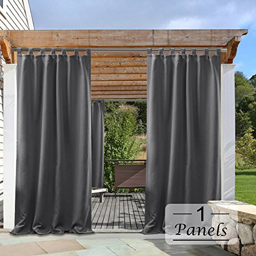 Canopy Top Fabric - PONY DANCE Grey Outdoor Curtains - Light Block Waterproof Fabric Tab Top Solid Blackout Curtain Drapes for Gazebo Porch, 52