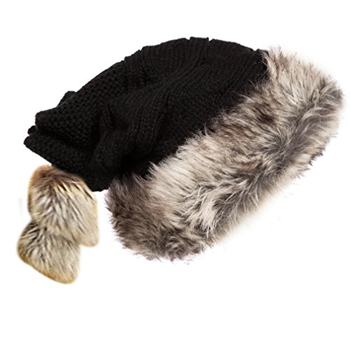 Kuyou Women's Winter Christmas Santa Hat Knit Hat Wool Cap (Black)