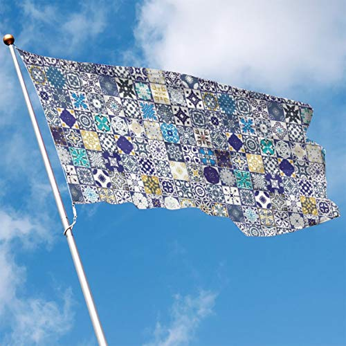 - YUANSHAN Home Garden Flag Mediterranean Square Tile Motifs Pattern Polyester Flag Indoor/Outdoor Wall Banners Decorative Flag 3' X 5'