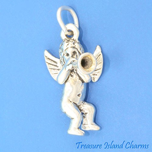 Cherub Angel with Horn Trumpet 3D .925 Solid Sterling Silver Charm Made in USA