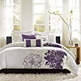 Purple King Duvet Cover Set Madison Park Lola Duvet Cover King/Cal King Size - Purple, Grey , Floral, Flowers Duvet Cover Set – 6 Piece – Cotton Sateen, Cotton Poly Crossweave Light Weight Bed Comforter Covers