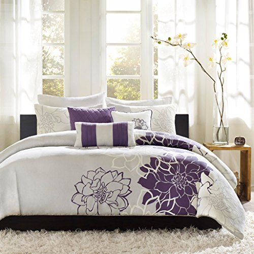 Madison Park Lola 6 Piece Printed Duvet Cover Set, Full/Queen Size, Purple (White Purple Cover Duvet And)