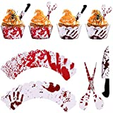 Gejoy 48 Pieces Halloween Cake Decoration Set include 24 Pieces Blood Handprint Pattern Cupcake Wrappers, 24 Pieces Knife and Scissor Shape Cake Toppers for Halloween Party Supplies