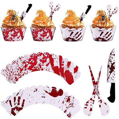 Gejoy 48 Pieces Halloween Cake Decoration Set include 24 Pieces Blood Handprint Pattern Cupcake Wrappers, 24 Pieces Knife and Scissor Shape Cake Toppers for Halloween Party Supplies -