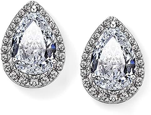 EVER FAITH Wedding Teardrop Pave Stud Earring Clear Cubic Zirconia Silver-Tone