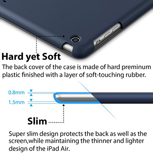 iPad Air Case, ROARTZ Metallic Navy Blue Slim Fit Smart Rubber Coated Folio Case Hard Shell Cover Light-Weight Auto Wake/Sleep For Apple iPad Air 1st generation Model A1474/A1475/A1476 Retina Display by ROARTZ (Image #3)