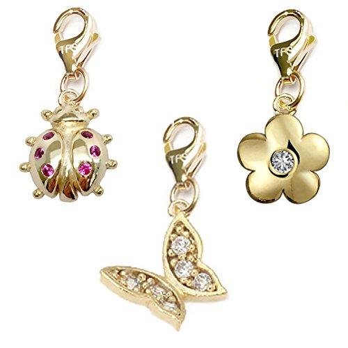 14k Butterfly Brooch - TFS Jewelry Butterfly, Ladybug, Flower 14k Gold Over Brass Clip-On Charm Set