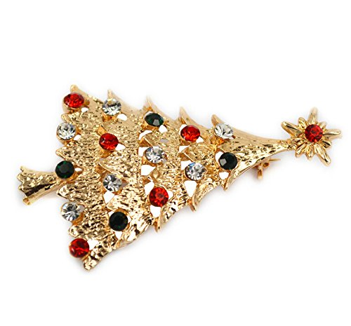 Yodio Christmas Tree Brooch Fashion Christmas Tree Wedding Bridal Brooch Pin Rhinestones Corsage Covered Scarves Shawl Clip For Women's Ladies Girls Jewelry Gift (Colorful)