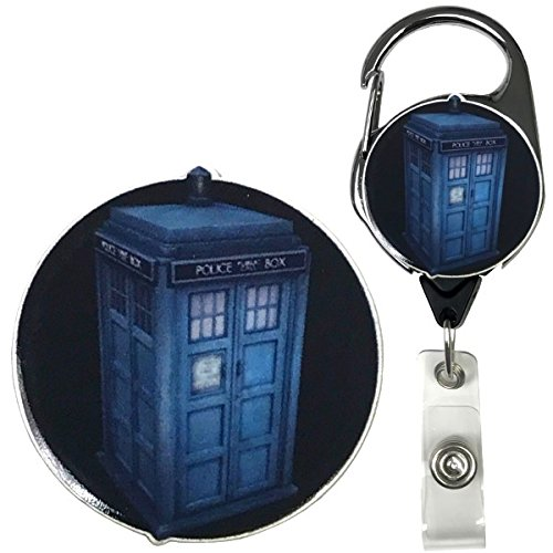 Dr. Who T.A.R.D.I.S. Inspired Symbol Real Charming Premium Decorative ID Badge Holder (Metal Carabiner)