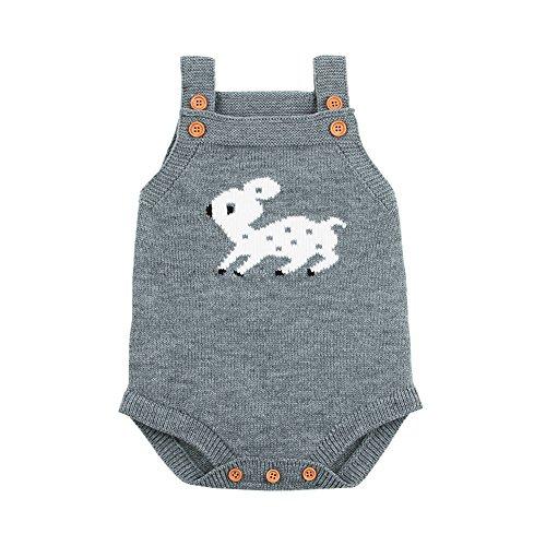 Ziyunlong Baby Romper Toddler Sleeveless Knit Sweater Jumpsuits Christmas Cute Deer Overalls