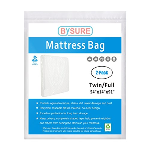 (BYSURE Mattress Bag for Moving and Storage - Opaque White Plastic - Protecting Your Mattress and Your Privacy, 2-Pack Fits Twin/Full Size)