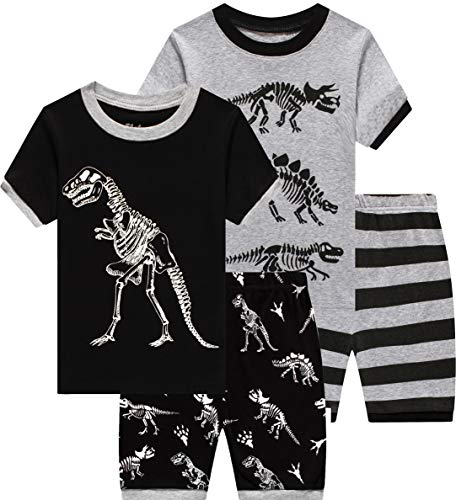 4 Pieces Pajamas for Boys Baby Grow in The Dark Dinosaur Clothes Summer Toddler Kids Short Pj Set 6t -