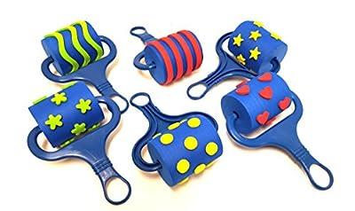Kids Foam Paint Rollers, by Playscene (6.5 Inch, Multi Pattern)