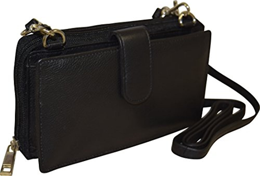 Pielino Women's Leather Smart Phone Crossbody Wallet With RFID Option (Black W/ RFID)