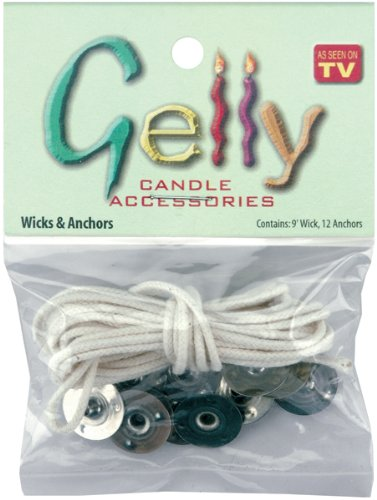 Gelly Candle 1367 Wick and Anchors, 9' Wicks and 12 Anchors