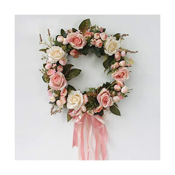 Liveinu Handmade Floral Artificial Simulation Peony Flowers Garland Wreath Wedding Table Centerpieces for Home Party Decor 14″ Pink Door Wreath with Ribbon